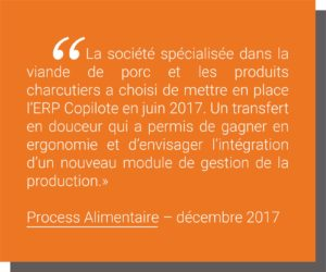 Article de presse Process Alimentaire - dec 2017 INFOLOGIC COPILOTE